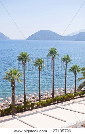 View of the Aegean sea and the beach. Marmaris. Turkey.