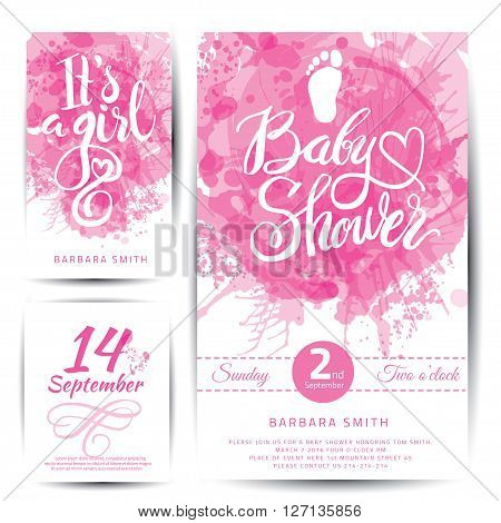 Vector watercolor pink sticker set It's a girl. Calligraphy lettering Baby shower. Baby shower design element for invitation design.