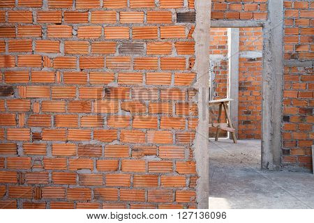 Wall Made Brick In Residential Building Construction Site