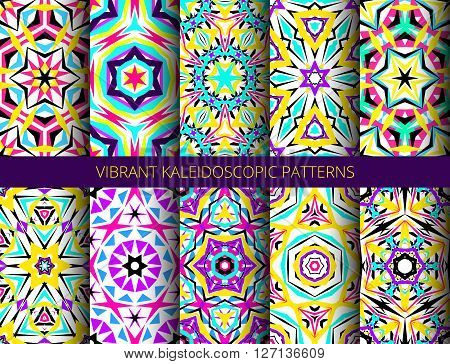 Kaleidoscope Abstract Flower Patterns Set. Vibrant geometric backgrounds. Fashionable graphic. Decorative star flowers. Neon colors, psychedelic design. Colorful geometric ornament. Vector backgrounds