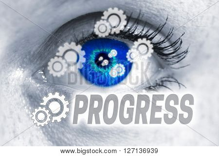 Progress Eye Looks At Viewer Concept Background