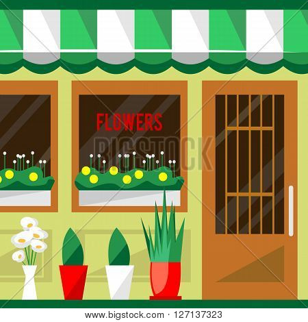 Illustration of a flowers shop. Little cute retro house and store, boutique with green awning. Floral building. Consumer flowerpot. Vector flat style icon. Florist outlet. Lovely plants