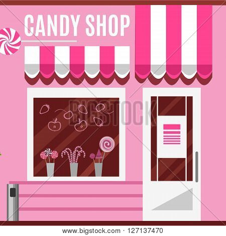 Candy shop in a pink color. Flat design vector illustration of small business concept.Tasty candies in a store window. Lollipops boutique. Stylish sweets outlet. Confectionery retail. Cute desserts.