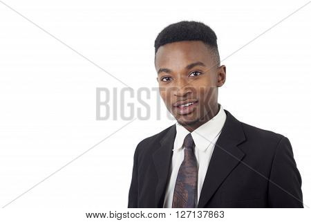 business man on white background, black suit and tie guy around 20