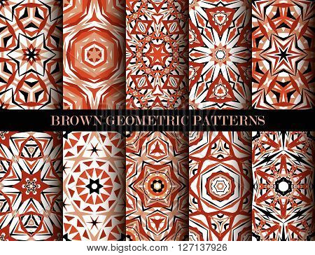 Kaleidoscope Abstract Flower Patterns set. Brown geometric background. Fashionable graphic print. Decorative flowers. Brown color psychedelic design. Intricate geometric ornament. Vector background
