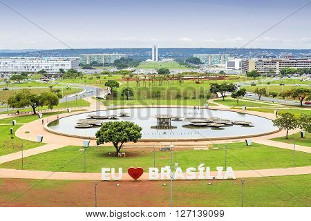 Brasilia, Brazil - November 17, 2015: Aerial view of Brasilia, capital of Brazil.