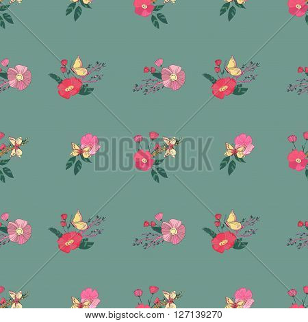 Floral Seamless Vintage Pattern With Wildflowers and Butterfly. Hand Drawn Illustration. Digital or Wrapping paper