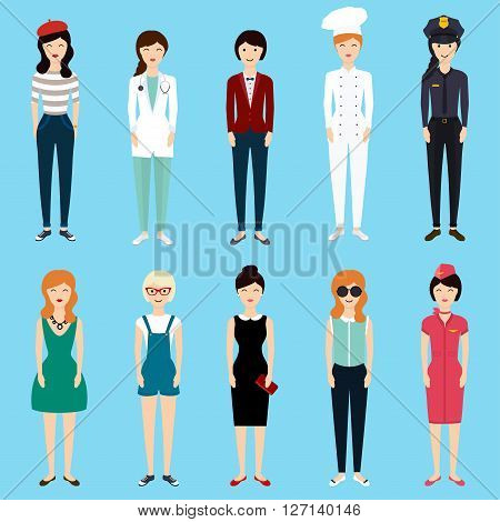 Set of colorful profession woman flat style: businesswoman doctor artist designer cook police teacher stewardess admin. Vector illustration.