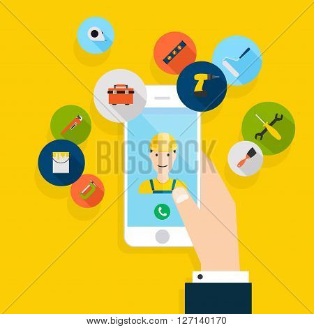 Vector Modern Creative Flat Design On Hand Holding Mobile Phone With Building Maintenance And Repair