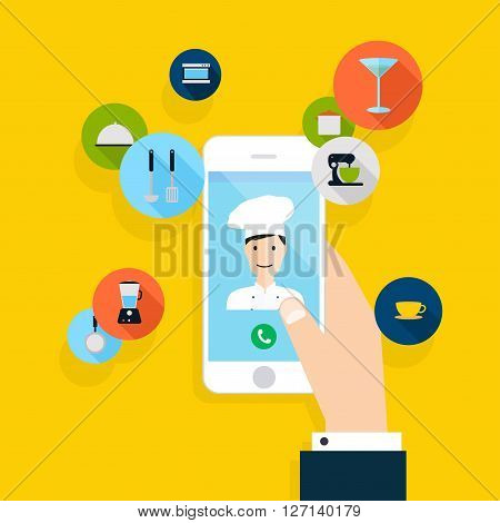 Vector Modern Creative Flat Design On Hand Holding Mobile Phone With Chef And Chef Service Order. Ve