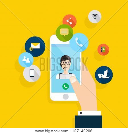 Vector Modern Creative Flat Design On Hand Holding Mobile Phone With Online Service. Vector Illustra