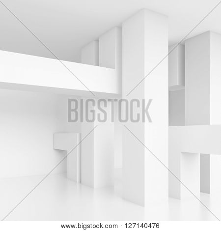 3d Illustration of Column Interior. Abstract Architecture Background. White Room Design