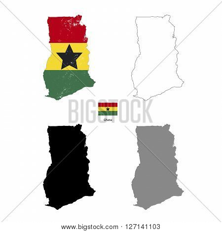 Ghana country black silhouette and with flag on background isolated on white