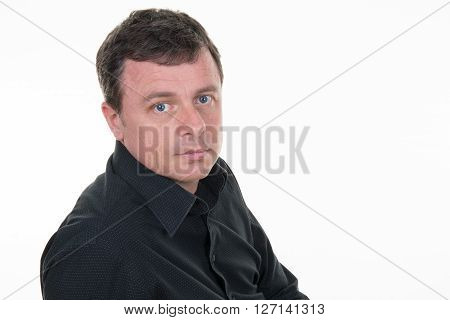 Serious Thoughtful Man On A White Background
