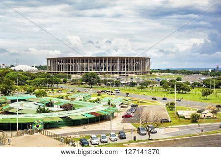 Brasilia, Brazil - November 17, 2015: View of famous Mane Garrincha stadium in Brasilia, capital of Brazil.