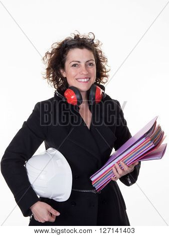 Businesswoman In Hard Hat With Stack Of Documents On White Background