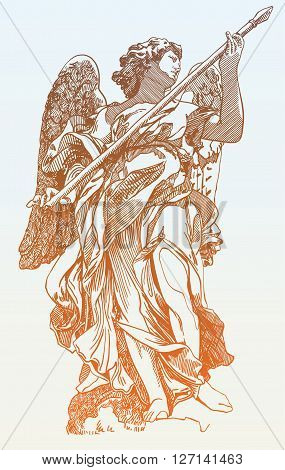 original sketch digital drawing of marble statue of angel from the Sant Angelo Bridge in Rome, Italy, vector illustration