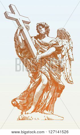 original sketch digital drawing of marble statue of angel from the SantAngelo Bridge in Rome, Italy, vector illustration