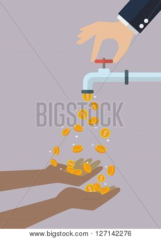 Poor hands are carrying coins falling out of the water tap. Business income concept