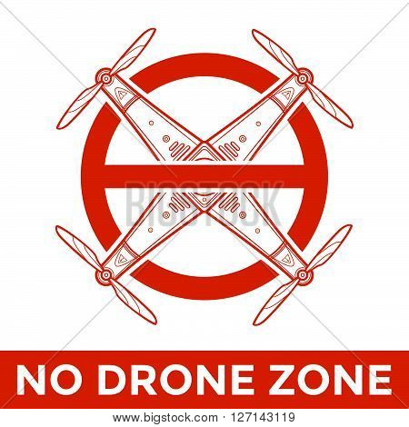 Vector Drone Prohibited Sign Illustration.