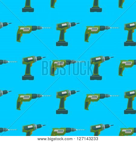 Vector Drill Screwdriver Seamless Pattern.