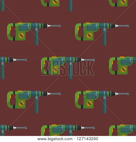 Vector Hammer Drill Seamless Pattern.