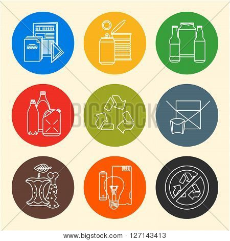 Vector Recycle Waste Segregation Icons.