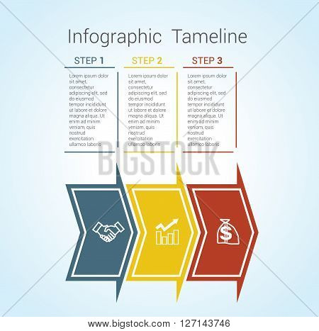 Template Timeline Infographic colored horizontal arrows numbered for three position can be used for workflow banner diagram web design area chart