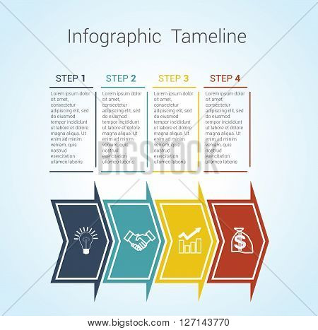 Template Timeline Infographic colored horizontal arrows numbered for four position can be used for workflow banner diagram web design area chart