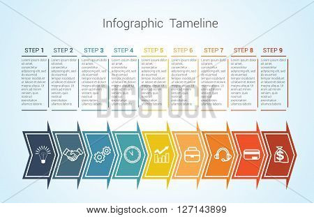 Template Timeline Infographic colored horizontal arrows numbered for nine position can be used for workflow banner diagram web design area chart
