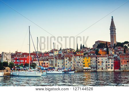 Rovinj, Croatia, 09 July 2012: Evening View On Sailboat Harbor In Rovinj With Many Moored Sail Boats