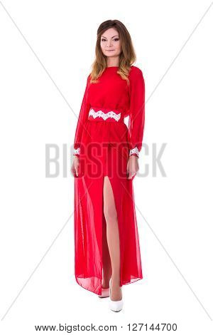 Young Gorgeous Woman In Red Dress Isolated On White