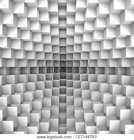 3D illustration of small cubes surface texture