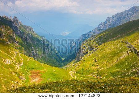 Summer view in Bucegi mountains in Carpathians Romania