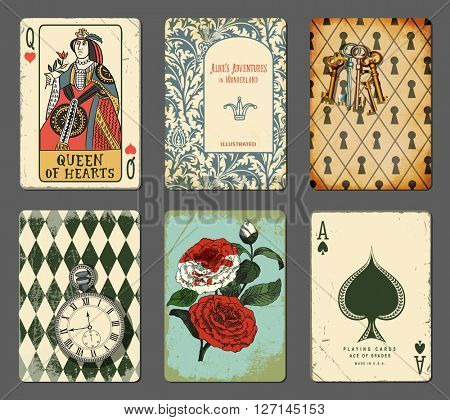 Fairy Tale Cards - Set of cards with motives from famous fairy tales and children's novels, including clock, keyhole wall, playing cards, roses and pages