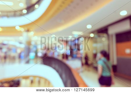 Image Blur People Walking In Department Store Shopping Mall Centre Background