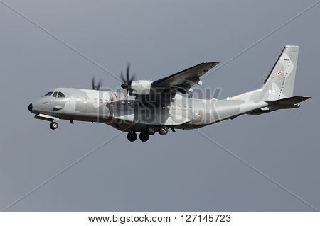 LEEUWARDEN NETHERLANDS - APR 6 2016: Polish Air Force CASA C-295M arriving at Leeuwarden airbase as cargo support for the upcoming exercise Frisian Flag.