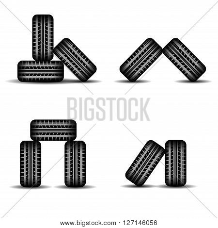 Set of four different tire tracks heaps with shadows isolated on white background