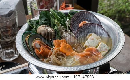 japanese cuisine. hot pot, japanese seafood asian
