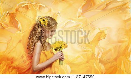 Girl Flowers Bouquet Young Fashion Model Beauty Face Smelling Yellow Dandelion