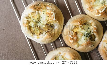 Fresh bread from oven (anchovy potato bread)