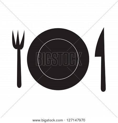 Fork Dish and Knife doodle hand draw silhouette icon for the meal with outline on white background