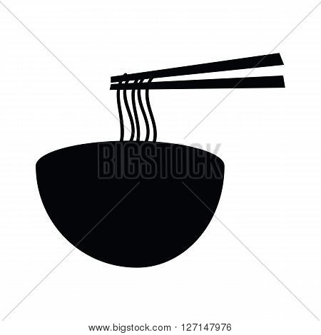 Hot noodle bowl with chopsticks grap the noodles silhouette icon isolated on white background
