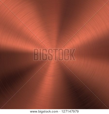 Bronze abstract technology background with polished, brushed circular metal texture, chrome, silver, steel, copper, rust for design concepts, web, posters and prints. Vector illustration.
