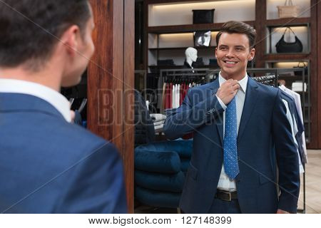 Smiling customer in store