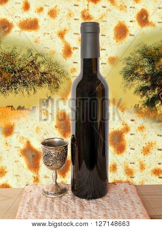 Conceptual collage with olive trees and unleavened bread, bottle of wine and silver cup for celebration of Jewish Passover