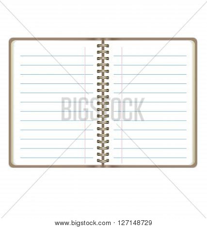 Blank Realistic Open Notebook With Lines Isolated On White Background
