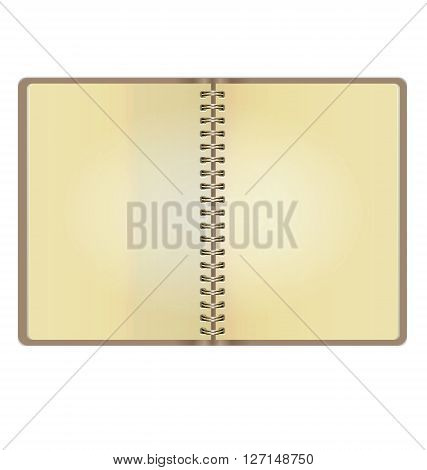 Blank Realistic Vintage Open Notebook Isolated On White Background
