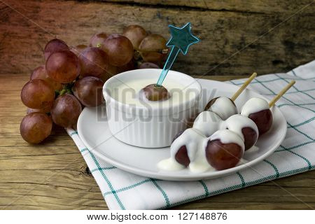 grape yoghurt on the wooden table, fresh, fruit, yogurt, yoghurt
