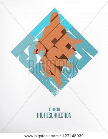 Easter. He Is Risen. Celebrate the Resurrection. Vector Illustration on White / Gray Background